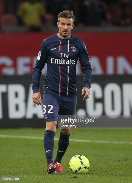 David Beckham of PSG in action during the french Ligue 1 match between Paris SaintGermain FC and AS NancyLorraine ASNL at the Parc des Princes...