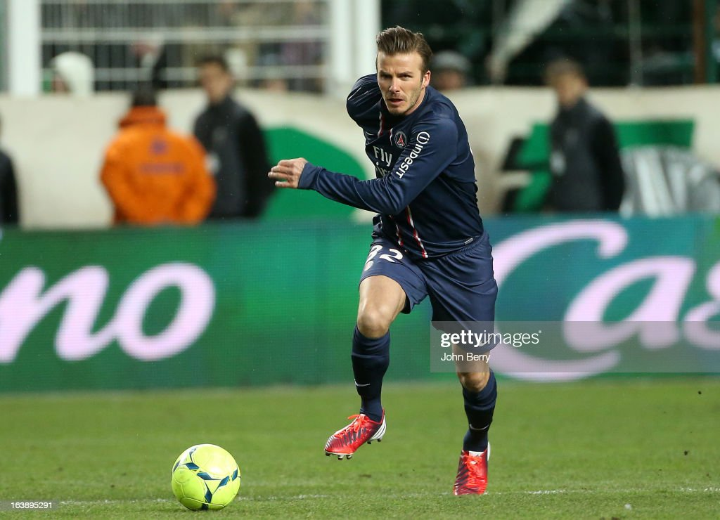 David Beckham of PSG in action during the Ligue 1 match between AS Saint-Etienne ASSE and Paris Saint-Germain FC at the Stade Geoffroy-Guichard on March 17, 2013 in Saint-Etienne, France.