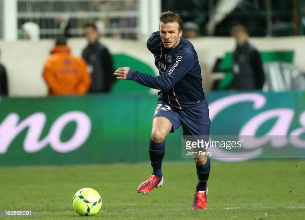 David Beckham of PSG in action during the Ligue 1 match between AS SaintEtienne ASSE and Paris SaintGermain FC at the Stade GeoffroyGuichard on March...