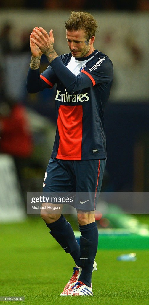 David Beckham of PSG reacts as he is substituted during the Ligue 1 match between Paris Saint-Germain FC and Stade Brestois 29 at Parc des Princes on May 18, 2013 in Paris, France.