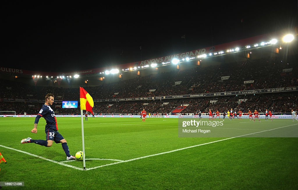 <a gi-track='captionPersonalityLinkClicked' href=/galleries/search?phrase=David+Beckham&family=editorial&specificpeople=158480 ng-click='$event.stopPropagation()'>David Beckham</a> of PSG takes a corner during the Ligue 1 match between Paris Saint-Germain FC and Stade Brestois 29 at Parc des Princes on May 18, 2013 in Paris, France.