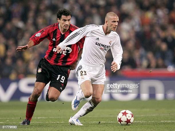David Beckham of Real Madrid and Marko Babic of Leverkusen during the UEFA Champions League Group B match between Real Madrid and Bayer Leverkusen...