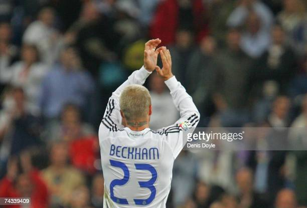 David Beckham of Real Madrid celebrates after Real beat Deportivo La Coruna 31 in the Primera Liga match between Real Madrid and Deportivo La Coruna...