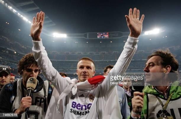 David Beckham of Real Madrid celebrates after Real won the Primera Liga after the Primera Liga match between Real Madrid and Mallorca at the Santiago...