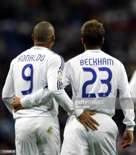 David Beckham of Real Madrid celebrates with Ronaldo after scoring a goal against Ecija during the Kings Cup fourth round second leg match between...