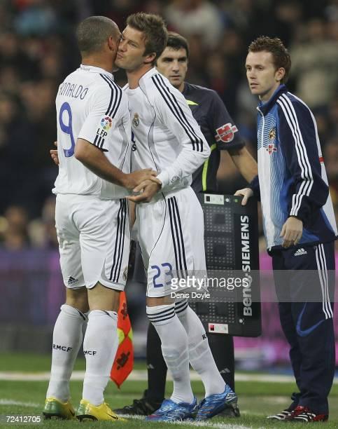 David Beckham of Real Madrid comes on for Ronaldo in the Primera Liga match between Real Madrid and Celta Vigo at the Santiago Bernabeu stadium on...