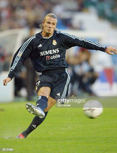 David Beckham of Real Madrid delivers a free kick during the Primera Liga game between Celta Vigo and Real Madrid at the Balaidos Stadium on October...