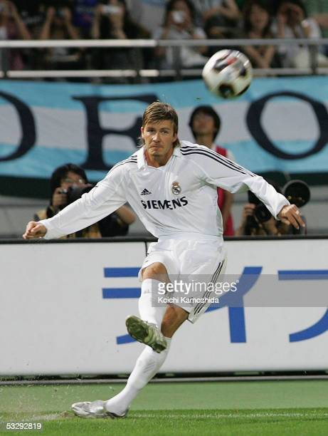 David Beckham of Real Madrid in action during a friendly game between Real Madrid and Jubilo Iwata at Tokyo Ajinomoto Stadium on July 27 2005 in...
