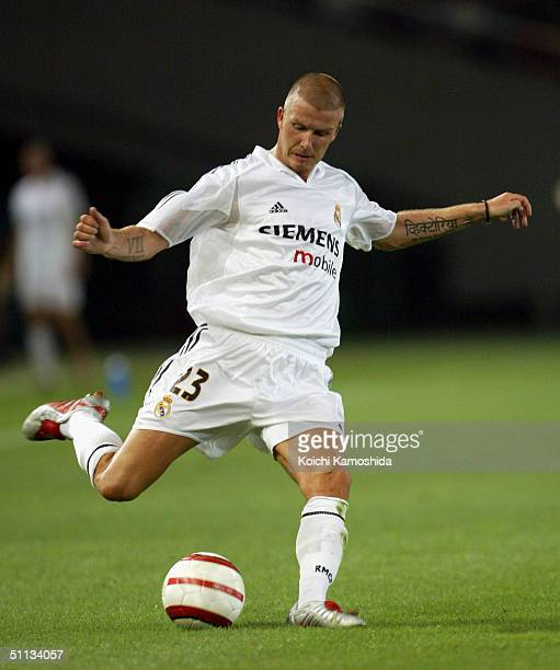 David Beckham of Real Madrid in action during a friendly match against Tokyo Verdy 1969's at Ajinomoto Stadium on August 1 2004 in Tokyo Japan