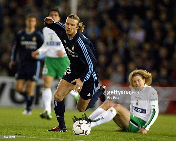 David Beckham of Real Madrid in action during the La Liga match between Racing Santander and Real Madrid played at the El Sardinero Stadium on March...