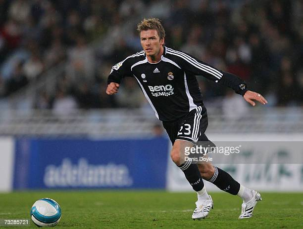 David Beckham of Real Madrid in action during the La Liga match between Real Sociedad and Real Madrid at the Anoeta stadium on February 10 2007 in...