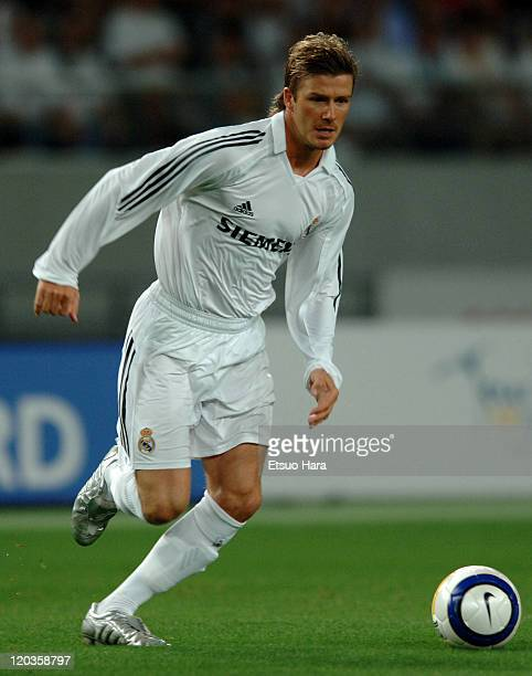 David beckham of Real Madrid in action during the preseason friendly match between Tokyo Verdy 1969 and Real Madrid at Ajinomoto Stadium on July 25...
