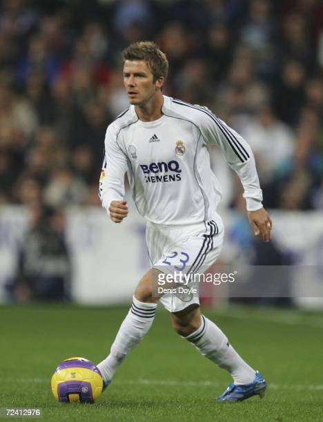 David Beckham of Real Madrid in action in the Primera Liga match between Real Madrid and Celta Vigo at the Santiago Bernabeu stadium on November 5...