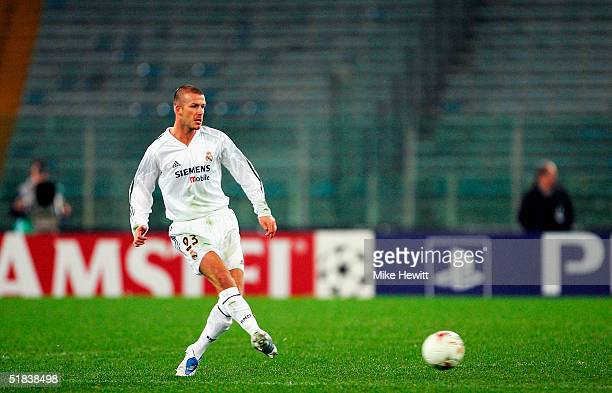 David Beckham of Real Madrid passes in an empty stadium during the UEFA Champion's League group B match between AS Roma and Real Madrid on December 8...