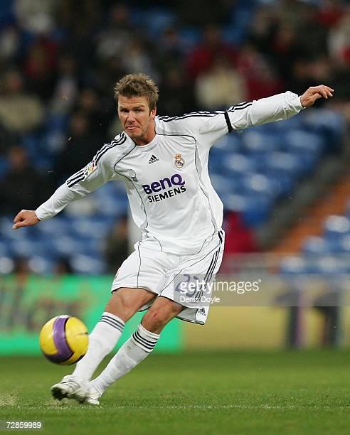 David Beckham of Real Madrid passes the ball during the Primera Liga match between Real Madrid and Recreativo Huelva at the Santiago Bernabeu stadium...