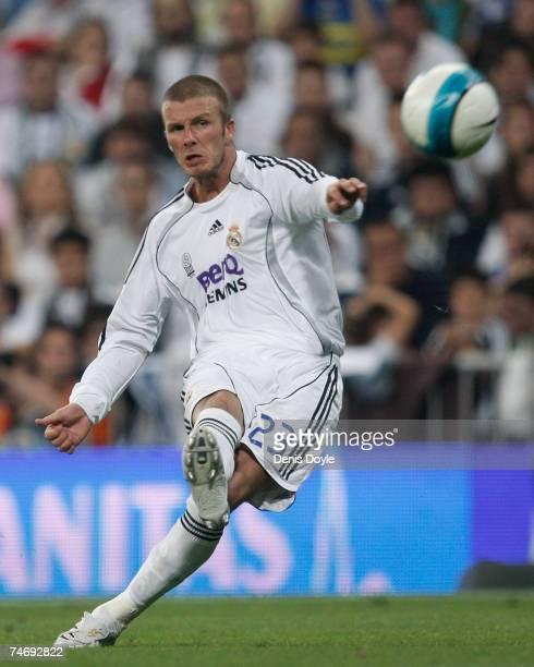 David Beckham of Real Madrid takes a free kick during the Primera Liga match between Real Madrid and Mallorca at the Santiago Bernabeu stadium on...