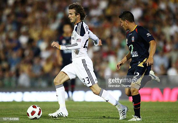 David Beckham of the Galaxy controls the ball during the friendly match between the Newcastle Jets and the LA Galaxy at EnergyAustralia Stadium on...