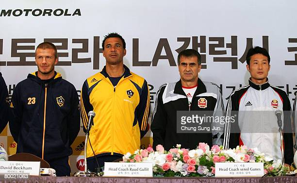 David Beckham of the LA Galaxy LA Galaxy Head Coach Ruud Gullit Seoul FC Head Coach Senol Gunes and Lee EulYong of Seoul FC pose after a press...
