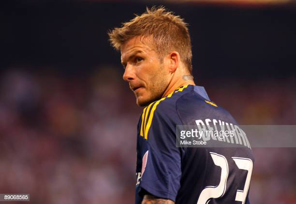 David Beckham of the LA Galaxy looks on against the New York Red Bulls at Giants Stadium in the Meadowlands on July 16 2009 in East Rutherford New...