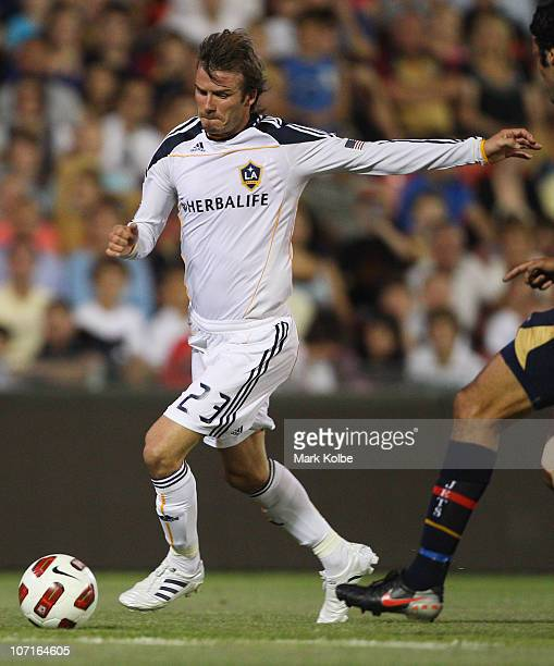 David Beckham of the Galaxy shoots at goal during the friendly match between the Newcastle Jets and the LA Galaxy at EnergyAustralia Stadium on...