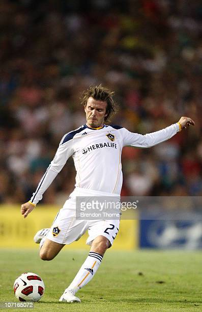 David Beckham of the Galaxy Shoots for goal during the friendly match between the Newcastle Jets and the LA Galaxy at EnergyAustralia Stadium on...
