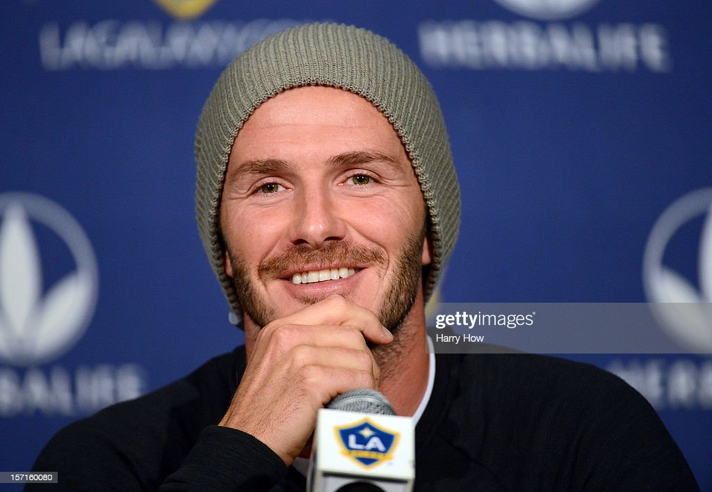 <a gi-track='captionPersonalityLinkClicked' href=/galleries/search?phrase=David+Beckham&family=editorial&specificpeople=158480 ng-click='$event.stopPropagation()'>David Beckham</a> #23 of the LA Galaxy speaks to the media during his press conference after training for the 2012 MLS Cup at The Home Depot Center on November 29, 2012 in Carson, California.
