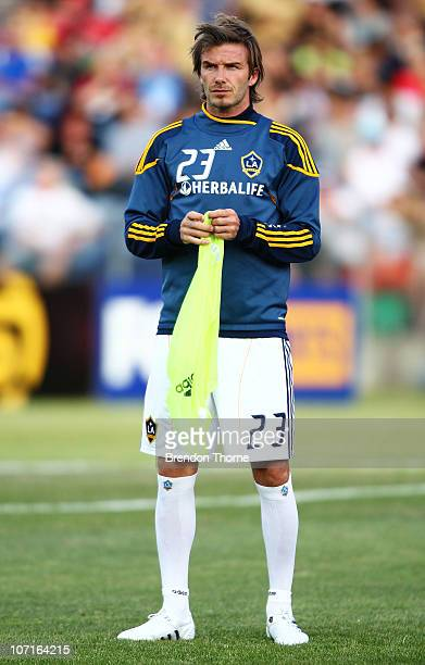 David Beckham of the Galaxy warms up prior to the friendly match between the Newcastle Jets and the LA Galaxy at EnergyAustralia Stadium on November...