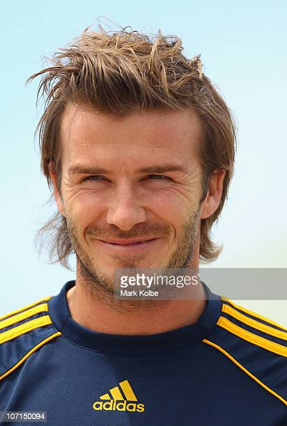 David Beckham of the Galaxy watches on during an LA Galaxy and Newcastle Jets Children's Football Clinic at Newcastle International Hockey Centre on...
