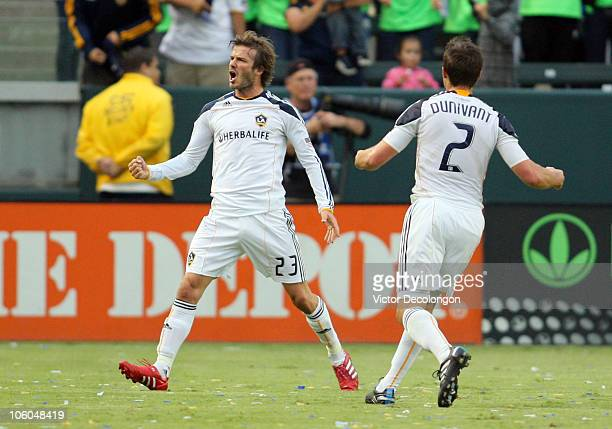 David Beckham of the Los Angeles Galaxy celebrates his first half goal against FC Dallas during the MLS match on October 24 2010 in Carson California...