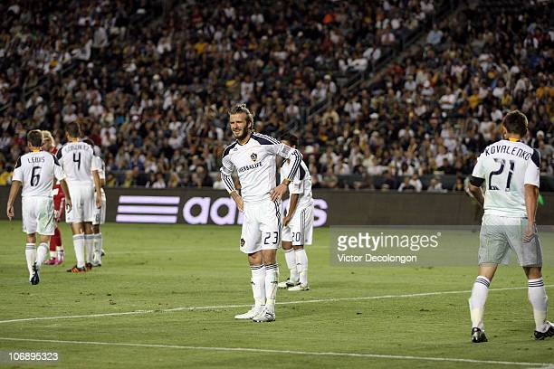 David Beckham of the Los Angeles Galaxy grimaces prior to an FC Dallas corner kick during the Western Conference Finals match of the MLS playoffs at...