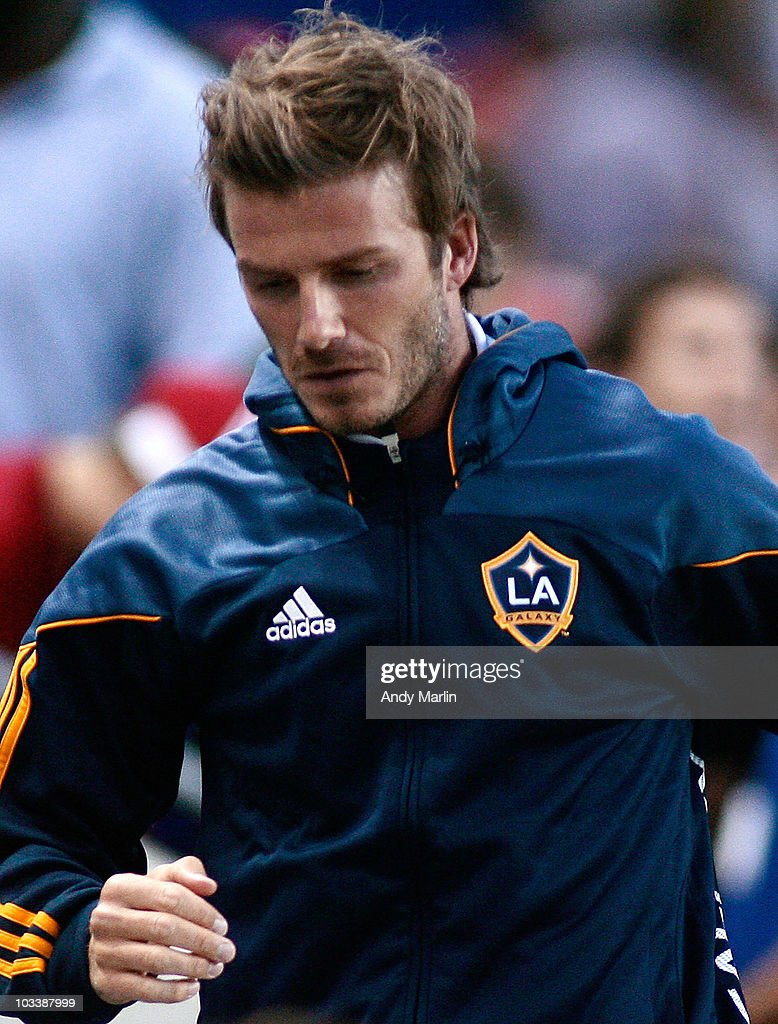 David Beckham #23 of the Los Angeles Galaxy leaves the field after the Galaxy defeated the New York Red Bulls at Red Bull Arena on August 14, 2010 in Harrison, New Jersey. The Galaxy defeated the Red Bulls 1-0.