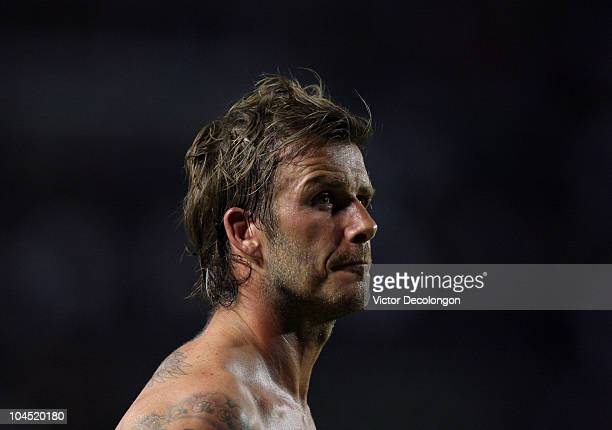 David Beckham of the Los Angeles Galaxy looks on after the MLS match against New York Red Bulls at The Home Depot Center on September 24 2010 in...