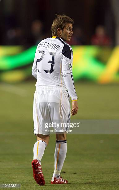 David Beckham of the Los Angeles Galaxy looks on during the MLS match against New York Red Bulls at The Home Depot Center on September 24 2010 in...