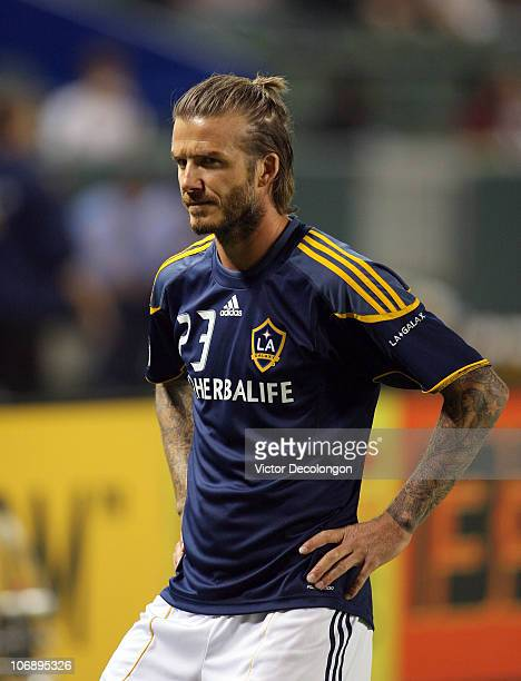 David Beckham of the Los Angeles Galaxy looks on during warm up prior to the Western Conference Finals match of the MLS playoffs against FC Dallas at...