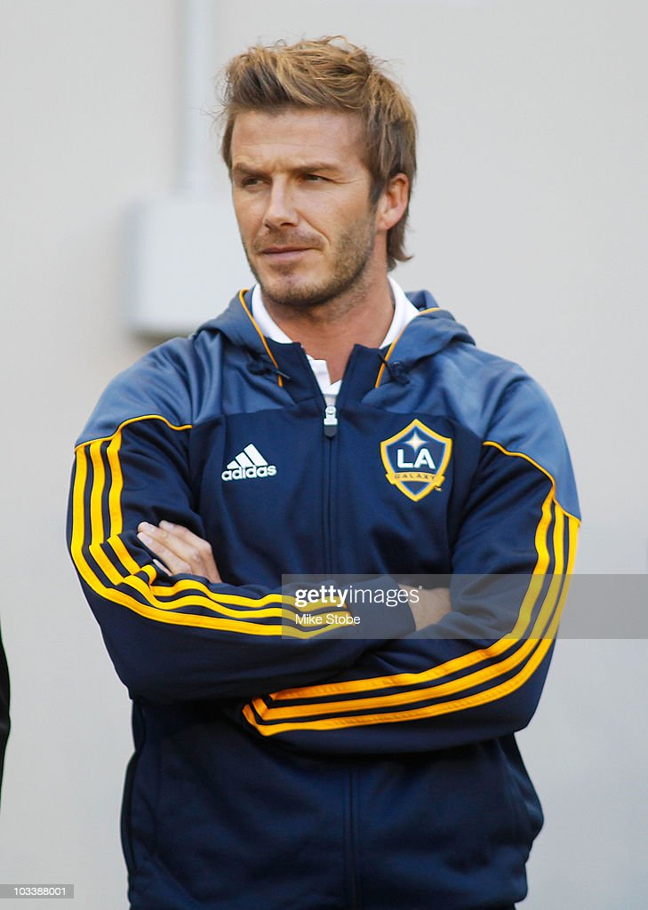 David Beckham #23 of the Los Angeles Galaxy looks on during warm-ups prior to their match against the New York Red Bulls on August 14, 2010 at Red Bull Arena in Harrison, New Jersey. Galaxy defeat the Red Bulls 1-0.