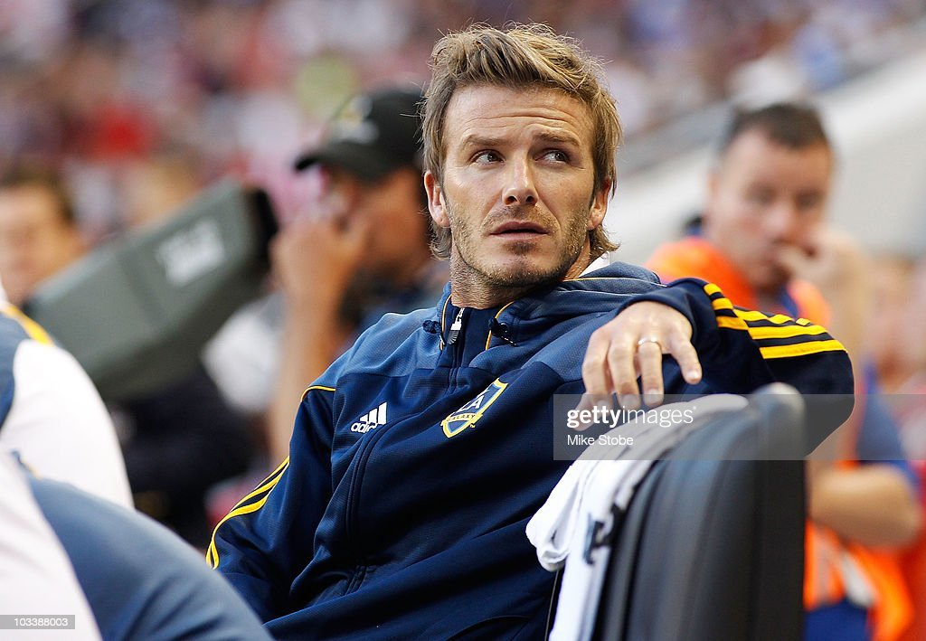 David Beckham #23 of the Los Angeles Galaxy looks on from the bench during their match against the New York Red Bulls on August 14, 2010 at Red Bull Arena in Harrison, New Jersey. Galaxy defeat the Red Bulls 1-0.