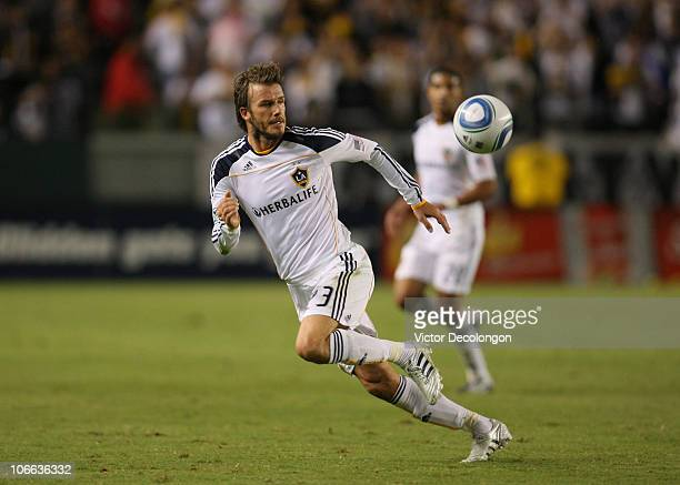 David Beckham of the Los Angeles Galaxy paces the ball on attack during the MLS Western Conference Semifinal match second leg against Seattle...