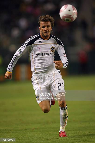 David Beckham of the Los Angeles Galaxy paces the ball on the attack in the first half during the MLS match at The Home Depot Center on October 16...