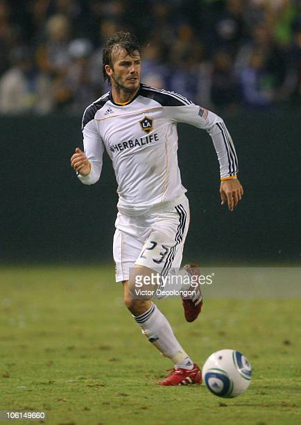 David Beckham of the Los Angeles Galaxy paces the ball on the counterattack during the MLS match against FC Dallas on October 24 2010 in Carson...