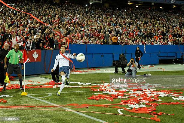 David Beckham of the Los Angeles Galaxy performs a corner kick during CONCACAF Champions League game action againsy the Toronto FC March 7 2012 at...