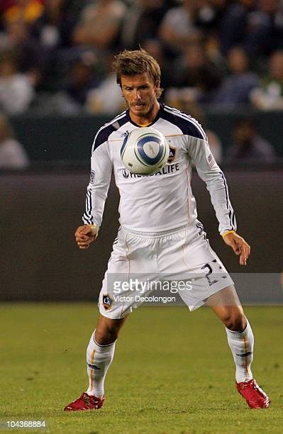David Beckham of the Los Angeles Galaxy plays the ball off his chest during their MLS match against DC United at The Home Depot Center on September...
