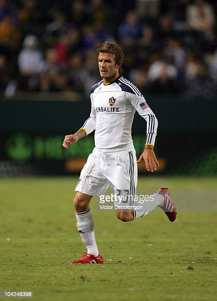 David Beckham of the Los Angeles Galaxy pushes off his right foot during their MLS match against the Columbus Crew at The Home Depot Center on...