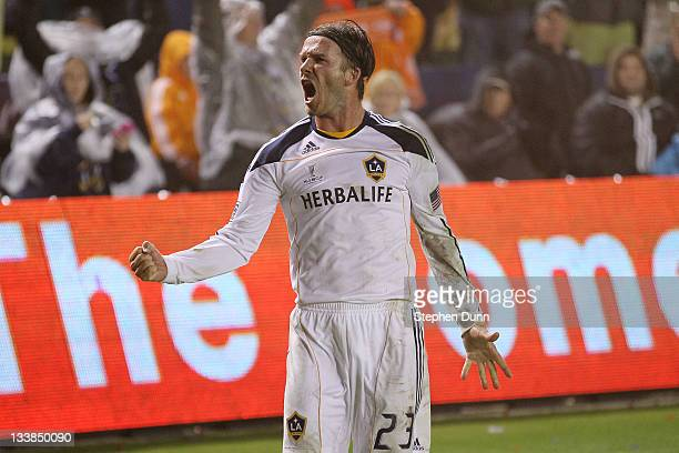 David Beckham of the Los Angeles Galaxy reacts after defeating the Houston Dynamo 10 in the 2011 MLS Cup at The Home Depot Center on November 20 2011...