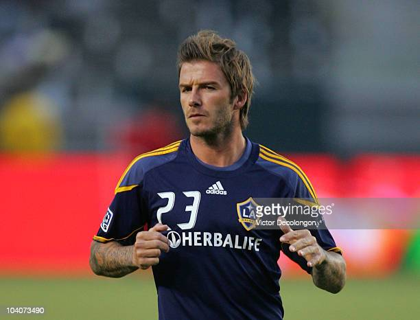David Beckham of the Los Angeles Galaxy warms up prior to their MLS match against Columbus Crew at The Home Depot Center on September 11 2010 in...