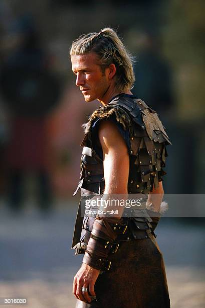 David Beckham on set during the making of the Pepsi football commercial 'Pepsi Foot Battle' held on July 4 2003 in Madrid Spain