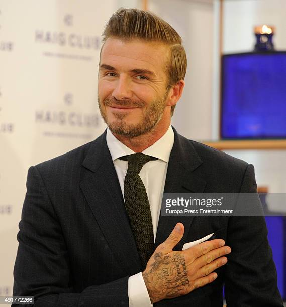 David Beckham presents the Haig Club popup store on October 7 2015 in Madrid Spain