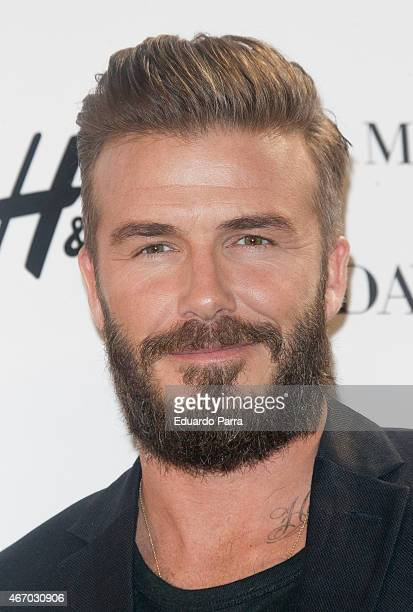 David Beckham presents the new 'Modern Essentials by HM' collection at the HM Gran Via store on March 20 2015 in Madrid Spain