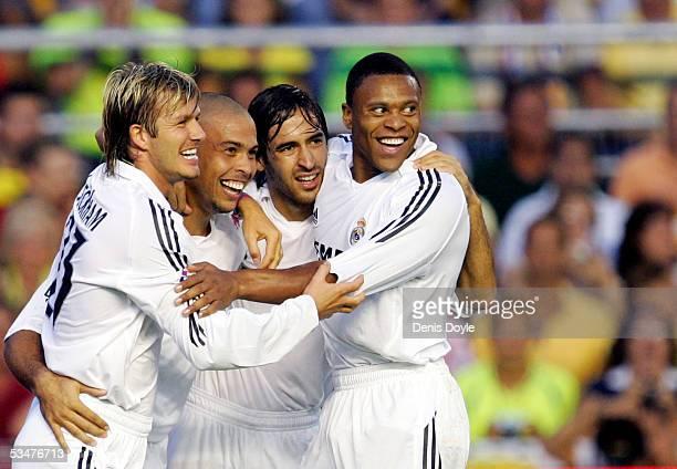 David Beckham Ronaldo Raul Gonzalez and Julio Baptista celebrate after Ronaldo scored during a Primera Liga soccer match between Cadiz and Real...