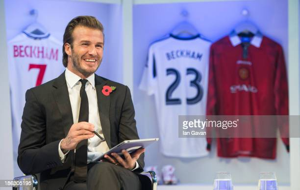 David Beckham shares a special digital signature with fans at Facebook's Offices in Hyderabad New York at 3pm today on October 30 2013 in London...