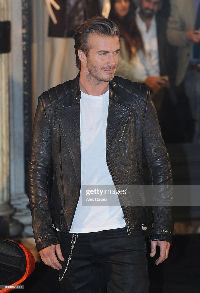 <a gi-track='captionPersonalityLinkClicked' href=/galleries/search?phrase=David+Beckham&family=editorial&specificpeople=158480 ng-click='$event.stopPropagation()'>David Beckham</a> sighting at Belstaff Bike launch on Bond Street on September 15, 2013 in London, England.